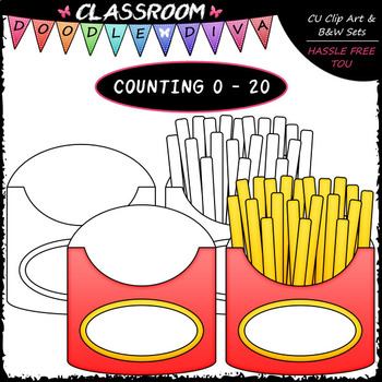 (0-20) Counting French Fries - Sequence, Counting & Math Clip Art & B&W Set