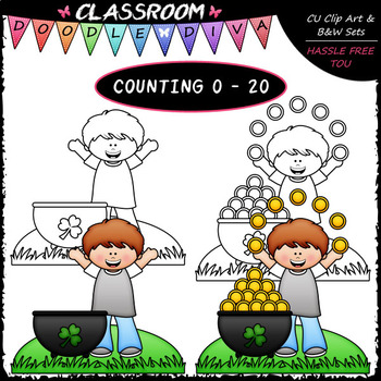 (0-20) Counting Gold Coins - Sequence, Counting & Math Clip Art & B&W Set