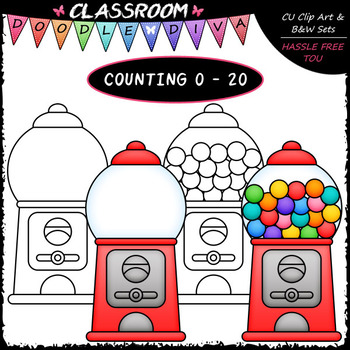(0-20) Counting Gumballs - Sequence, Counting & Math Clip Art & B&W Set