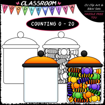 (0-20) Counting Halloween Candy - Sequence, Counting & Math Clip Art & B&W Set