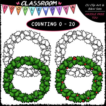 (0-20) Counting Holly Berries - Sequence, Counting & Math Clip Art & B&W Set
