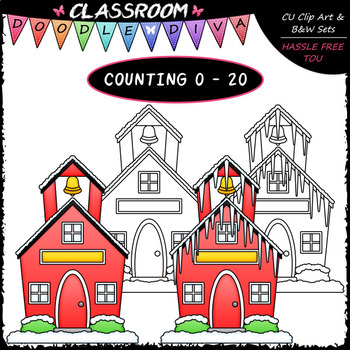 (0-20) Counting Icicles - Sequence, Counting & Math Clip Art & B&W Set