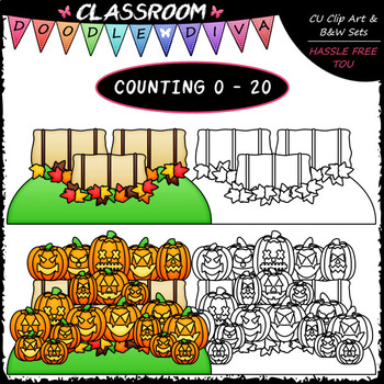 (0-20) Counting Jack-o-lanterns - Sequence, Counting & Math Clip Art & B&W Set