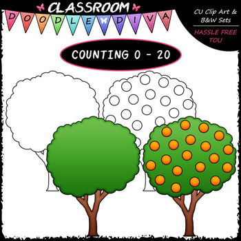 (0-20) Counting Oranges - Sequence, Counting & Math Clip Art & B&W Set