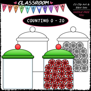 (0-20) Counting Peppermint Candy - Sequence, Counting & Math Clip Art & B&W Set