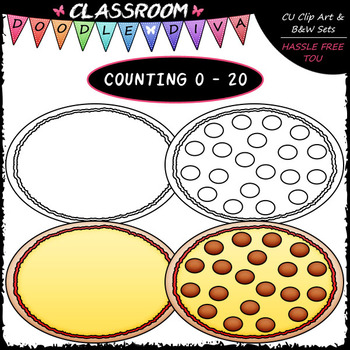 (0-20) Counting Pepperoni - Sequence, Counting & Math Clip Art & B&W Set
