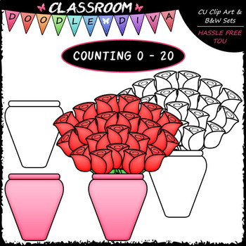 (0-20) Counting Red Roses - Sequence, Counting & Math Clip Art & B&W Set