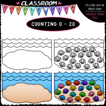 (0-20) Counting Seashells - Sequence, Counting & Math Clip Art & B&W Set