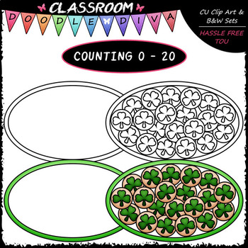 (0-20) Counting Shamrock Cookies - Counting & Math Clip Art & B&W Set