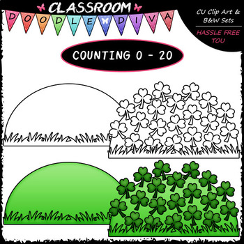 (0-20) Counting Shamrocks - Sequence, Counting & Math Clip Art & B&W Set