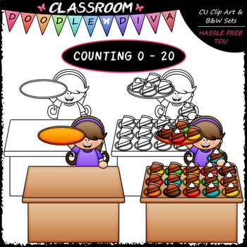 (0-20) Counting Slices of Pumpkin Pie - Sequence, Counting & Math Clip Art & B&W