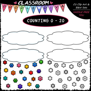 (0-20) Counting Snowflakes - Sequence, Counting & Math Clip Art & B&W Set