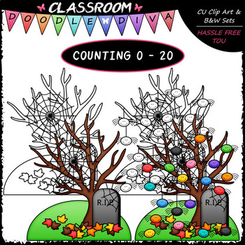 (0-20) Counting Spiders - Sequence, Counting & Math Clip Art & B&W Set