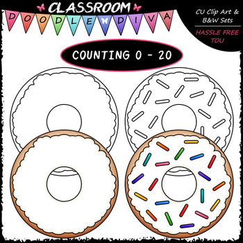 (0-20) Counting Sprinkles - Sequence, Counting & Math Clip Art & B&W Set