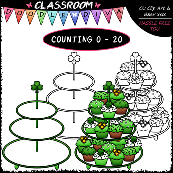 (0-20) Counting St. Patrick's Day Cupcakes - Counting & Math Clip Art & B&W Set