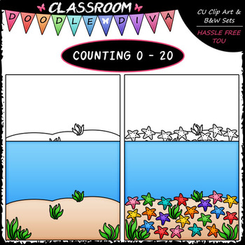 (0-20) Counting Starfish - Sequence, Counting & Math Clip Art & B&W Set