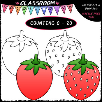 (0-20) Counting Strawberry Seeds - Sequence, Counting & Math Clip Art & B&W Set