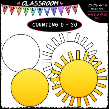 (0-20) Counting Sunshine Rays - Sequence, Counting & Math Clip Art & B&W Set
