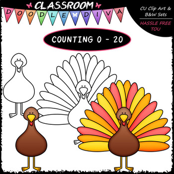 (0-20) Counting Turkey Feathers - Sequence, Counting & Math Clip Art & B&W Set