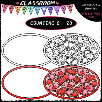 (0-20) Counting Valentine Cookies - Sequence, Counting & Math Clip Art & B&W Set