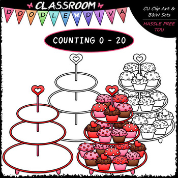(0-20) Counting Valentine Cupcakes - Sequence, Counting & Math Clip Art & B&W