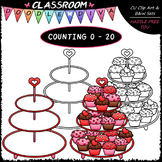 (0-20) Counting Valentine Cupcakes - Sequence, Counting &