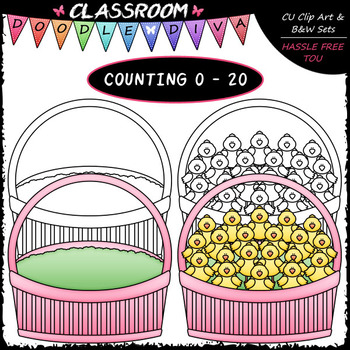 (0-20) Easter Counting Clip Art & B&W Bundle 1 (4 Sets)