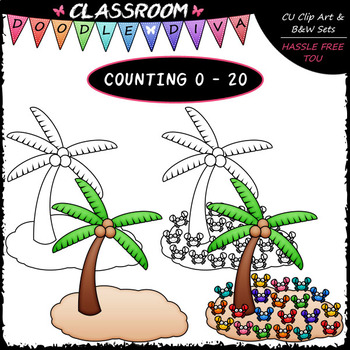 (0-20) Summer Counting Clip Art & B&W Bundle 1 (4 Sets)