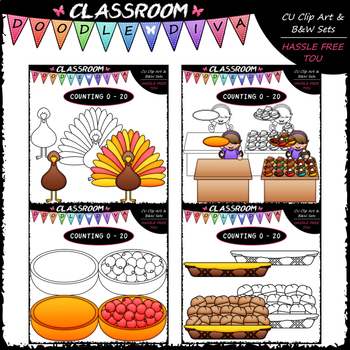 (0-20) Thanksgiving Counting Clip Art & B&W Bundle 1 (4 Sets)