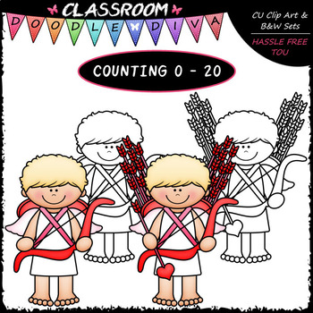 (0-20) Valentine's Day Counting - Clip Art & B&W Bundle 1 (4 Sets)