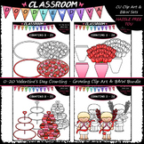 (0-20) Valentine's Day Counting - Clip Art & B&W Bundle 1