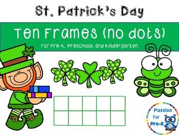 St. Patrick's Day Ten Frames (no dots) - Pre-K/Kindergarten