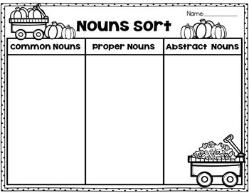 Common, Proper, and Abstract Nouns Sort