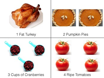 """1,2,3 Thanksgiving"" Story Picture Flashcards for Preschoolers"