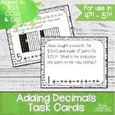 Adding Decimals Task Cards | TEKS 4.4a | Math Station | De
