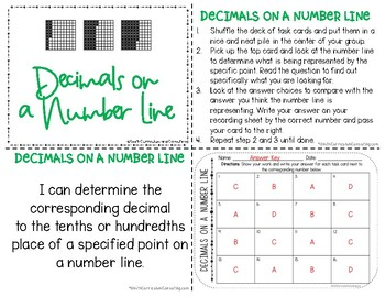 Decimals on a Number Line Task Cards | TEKS 4.2h | TEKS 6.4f