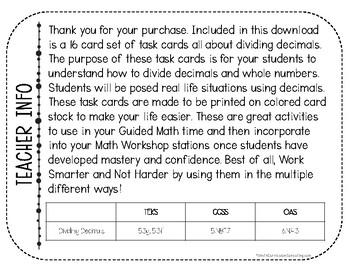 Dividing Decimals Task Cards | TEKS 5.3d | TEKS 5.3e | Math Test Prep