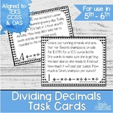 Dividing Decimals Task Cards | TEKS 5.3d | TEKS 5.3e | Mat