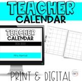 Teacher Calendar 2021-2022   Digital and Print   Free Updates