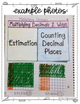 Multiplying Decimals with Estimation for Interactive Notebooks   TEKS 5.3e