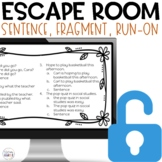 Sentence Fragment Run-on Digital Escape Room Distance Learning