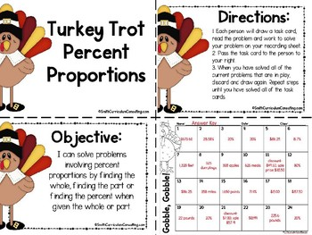 Thanksgiving Math Task Cards | Percent Proportions Task Cards