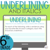 Underlining and Italics with Titles Google Slides