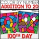 Color by Number 100TH DAY Worksheets ADD UP TO 20