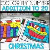 Color by Number CHRISTMAS Worksheets ADD UP TO 20