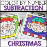 Color by Number CHRISTMAS Worksheets Sub within 20