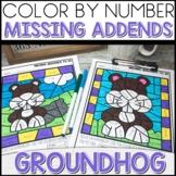 Color by Number GROUNDHOG DAY Worksheets MISSING ADDENDS