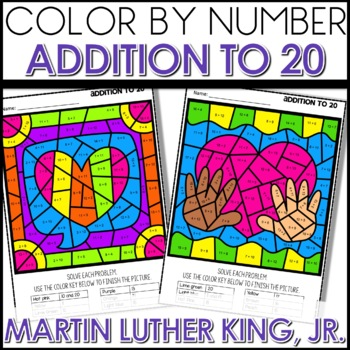 Color by Number MLK Worksheets ADD UP TO 20