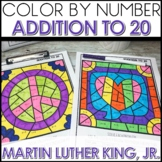 Color by Number Addition to 20 Math Coloring Worksheets MLK Themed