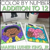 Color by Number Addition to 12 Math Coloring Worksheets MLK Themed